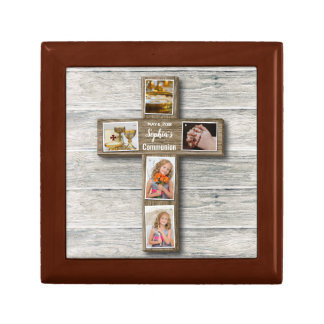 Rustic Wood Cross First Communion Photo - Gift Box