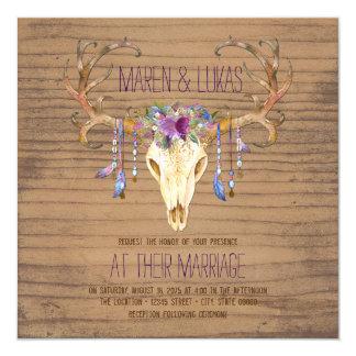 Rustic Wood Deer Antler Skull Southwestern Wedding 13 Cm X 13 Cm Square Invitation Card