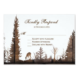 Rustic Wood Deer Pine Tree Wedding RSVP Cards