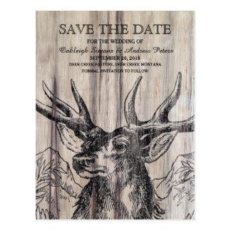 Rustic Wood | Deer Save the Date Postcard