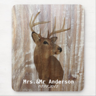 rustic wood deer the hunt is over mr and mrs mouse pads