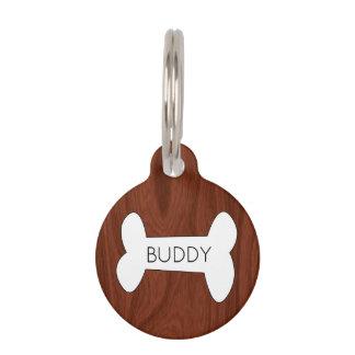 Rustic Wood Dog Bone | Personalized Pet ID Phone Pet ID Tag