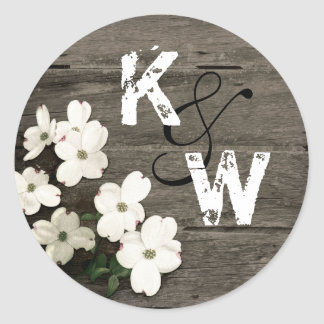 Rustic Wood & Dogwood Blooms Monogram Sticker