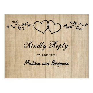 Rustic Wood Double Hearts Wedding RSVP POSTCARDS
