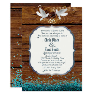Rustic Wood & Doves Wedding Invite w/ glitter