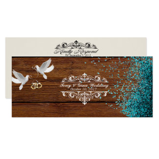 Rustic Wood & Doves Wedding RSVP w/ glitter Card
