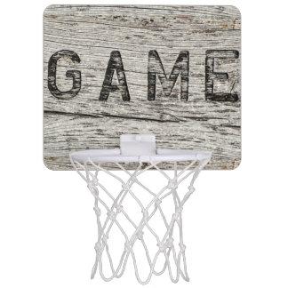 Rustic Wood Effect Game Lettering Mini Basketball Hoop