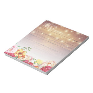 Rustic Wood Elegant Floral Chic String Lights Notepad