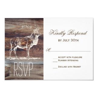 Rustic Wood Elk Wildlife Wedding RSVP Cards 9 Cm X 13 Cm Invitation Card