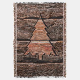 Rustic Wood Engraved Evergreen Texture Throw Blanket