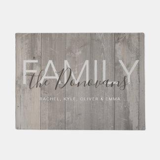 Rustic Wood Family Doormat