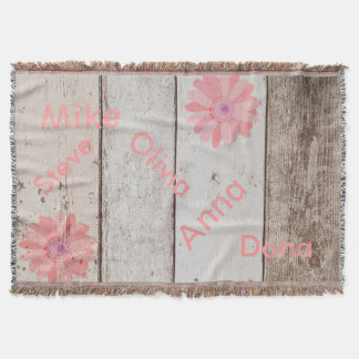 Rustic Wood Family Names Throw Blanket