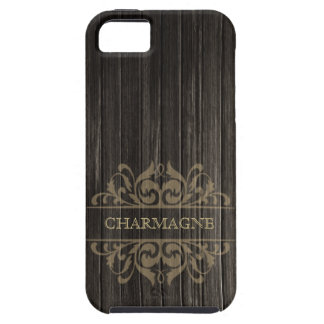 Rustic Wood Filigree Designer | ebony tan iPhone 5 Covers