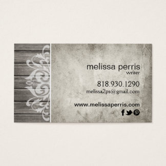 Rustic Wood Filigree | grey white Business Card