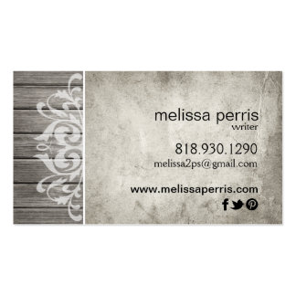 Rustic Wood Filigree   grey white Pack Of Standard Business Cards