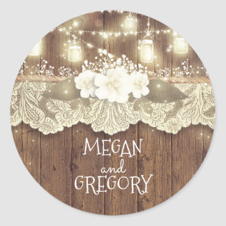 Rustic Wood Fireflies Mason Jars Barn Wedding Round Sticker