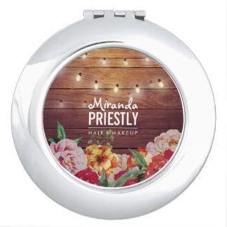 Rustic Wood Floral Chic String Lights Makeup Salon Compact Mirrors