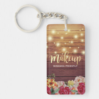 Rustic Wood Floral Chic String Lights Makeup Salon Key Ring