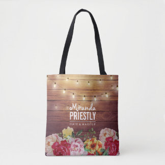 Rustic Wood Floral Chic String Lights Makeup Salon Tote Bag