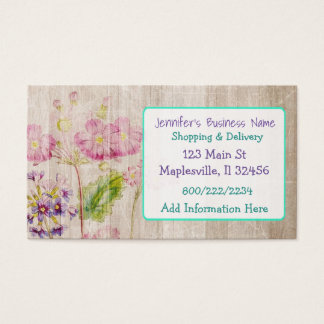 Rustic Wood Floral Distressed Business Card