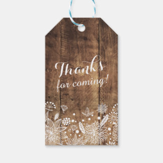 rustic wood floral Gift Tags