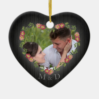 Rustic Wood Floral Heart Photo Ceramic Ornament