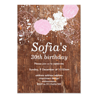 rustic wood floral invitation card woman party
