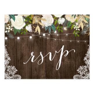Rustic Wood Floral Lace String Lights Wedding RSVP Postcard