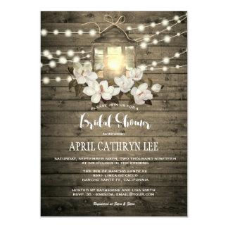 Rustic Wood Floral Lantern Lights Bridal Shower Card