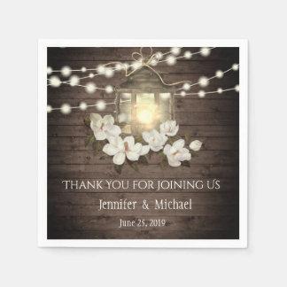 Rustic Wood Floral Lantern Lights Wedding Custom Disposable Serviette