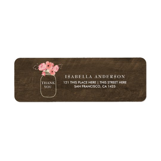 Rustic Wood Floral Mason Jar & Light Baby Shower Return Address Label