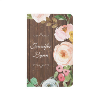 Rustic Wood & Floral Personalized Journal