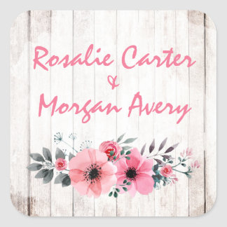 Rustic Wood Floral Rose Country Chic Coral Wedding Square Sticker