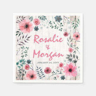 Rustic Wood Floral Rose Country Wedding Reception Paper Serviettes