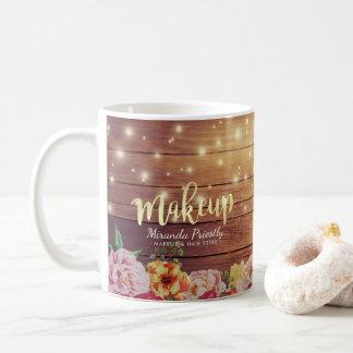 Rustic Wood Floral String Light Gold Script Makeup Coffee Mug