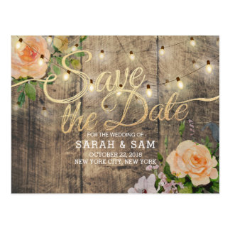 Rustic Wood Floral String Lights Save The Date Postcard