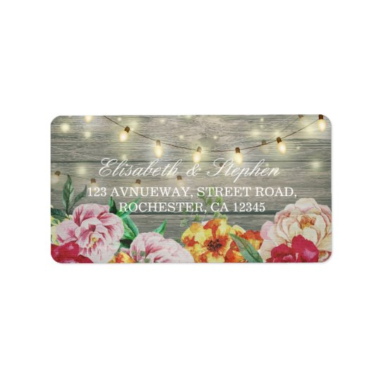 Rustic Wood Floral String Lights Wedding Address Label