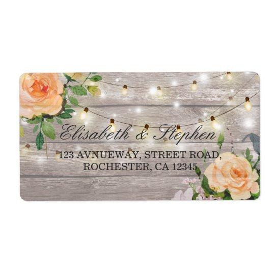 Rustic Wood Floral String Lights Wedding Address Shipping Label