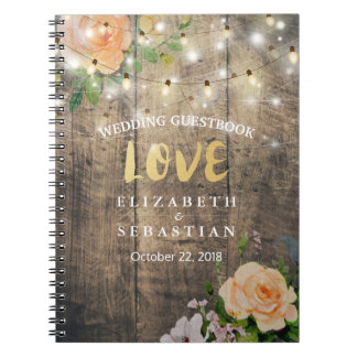 Rustic Wood Floral String Lights Wedding Guestbook Notebooks