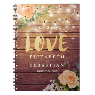 Rustic Wood Floral String Lights Wedding Guestbook Spiral Notebook