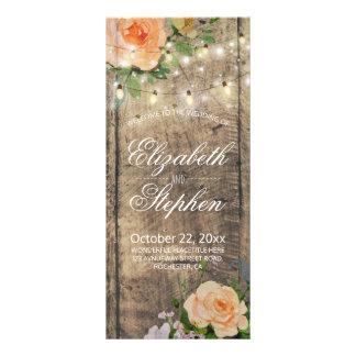 Rustic Wood Floral String Lights Wedding Program Rack Card