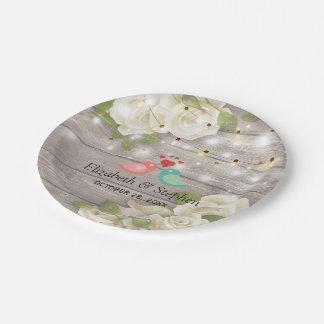 Rustic Wood Floral String Lights Wedding Shower Paper Plate