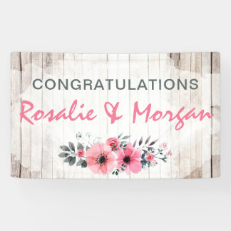 Rustic Wood Floral Wedding Congratulations Sign