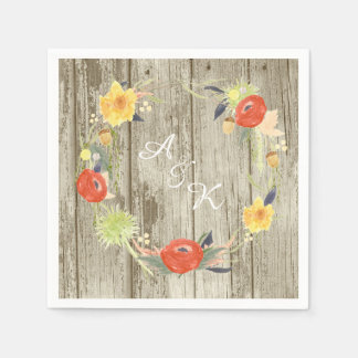 Rustic Wood Floral Wreath Wedding Disposable Serviette