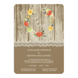 Rustic Wood Floral Wreath Wedding Invitation
