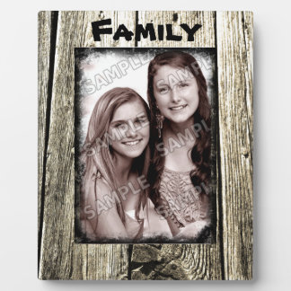 Rustic Wood Frame Your Family Photo and Text Plaque