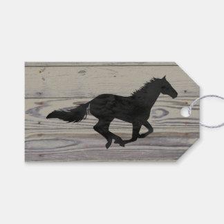 Rustic Wood Galloping Horse Watercolor Silhouette