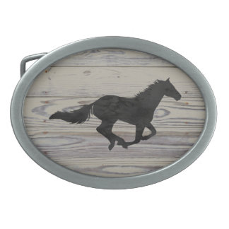 Rustic Wood Galloping Horse Watercolor Silhouette Belt Buckles