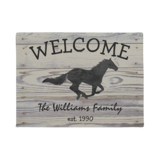 Rustic Wood Galloping Horse Watercolor Silhouette Doormat