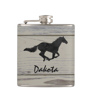 Rustic Wood Galloping Horse Watercolor Silhouette Flask